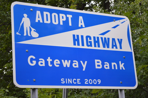 Gateway Bank's adopt a highway sign